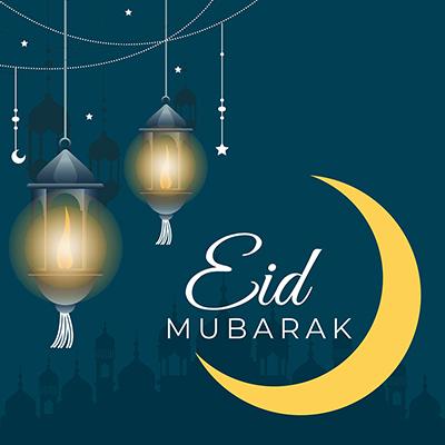 Muslim festival Eid Mubarak celebrations on a banner template design
