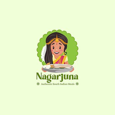 Nagarjuna South Indian Meals Vector Mascot Logo Template