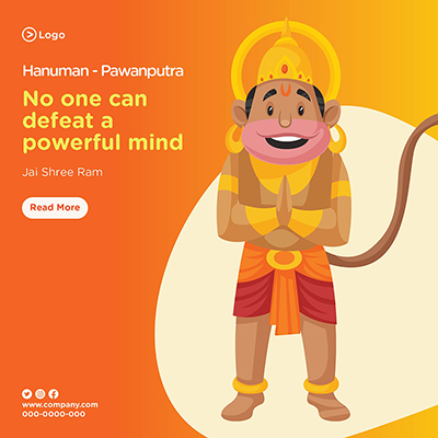 No one can defeat a powerful mind with lord hanuman pawanputra banner template
