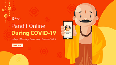 Pandit online booking during covid-19 for e-puja banner design template