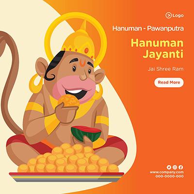 Pawanputra Lord Hanuman Jayanti banner design template