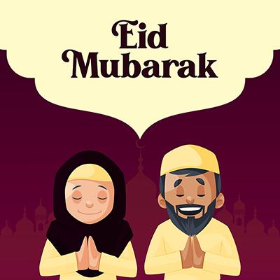 Prayer on Ramadan Kareem Eid Mubarak festival with banner design