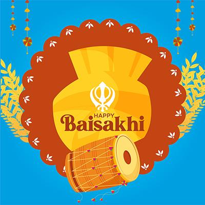 Punjabi traditional festival happy Baisakhi social media banner