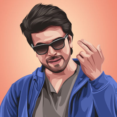 Ram Charan Indian South Actor Portrait Vector Illustration