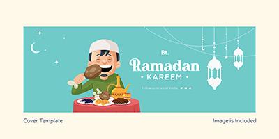 Ramadan Kareem Islamic traditional festival on Facebook cover template