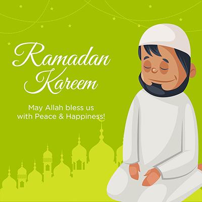 Ramadan Kareem banner design with a man cartoon illustration