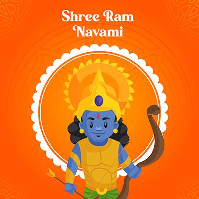 Shree Ram Navami festival banner design with traditional avatar