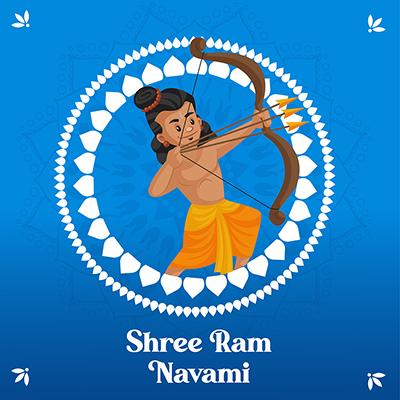 Shree Ram Navami greeting illustration banner design