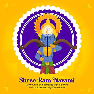 Shree Ram Navami traditional festival with banner design