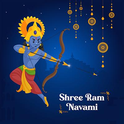 Shree Ram Navami vector illustration with banner design template