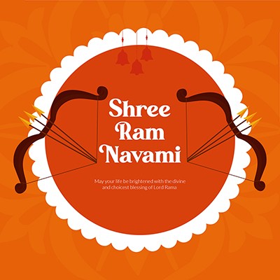 Shree Ram Navami with illustration of bow and arrow banner design