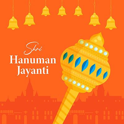 Shri Hanuman Jayanti banner design template on colored background