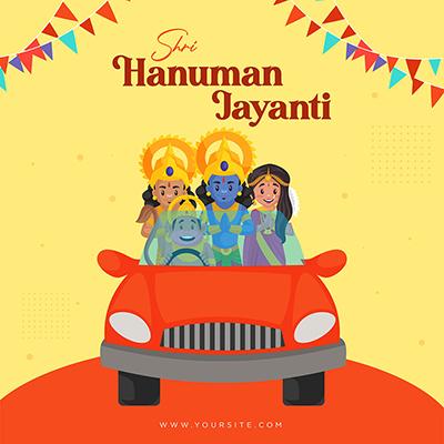Shri Hanuman Jayanti Indian festival banner design template