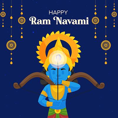 Social media banner of happy Ram Navami Hindu traditional festival-37 small