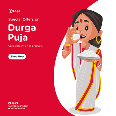 Social media banner template of special sale on Durga puja-09 small