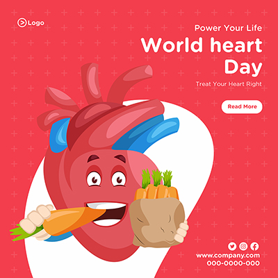 Social media banner template of world heart day 12 small