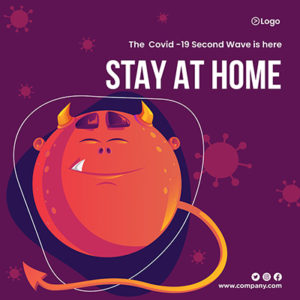 Stay at home covid- 19 second wave is here with banner design- 1 small
