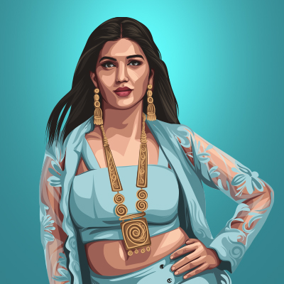 Indian Celebrity Sapna Choudhary Vector Portrait Illustration