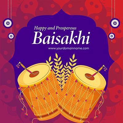 Traditional festival of Punjab happy Baisakhi banner design