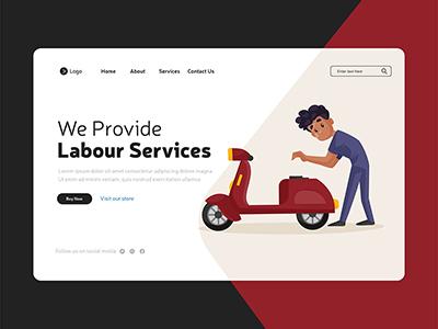We provide labour services illustration on landing page design