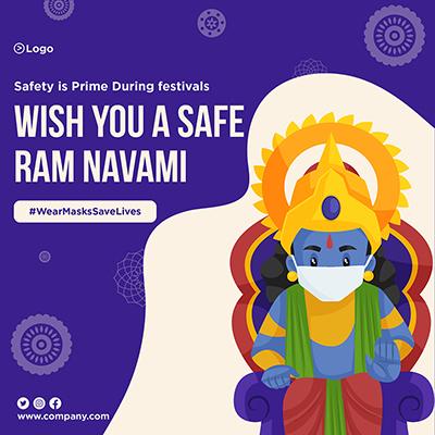 Wear mask save lives safe Ram Navami banner design template