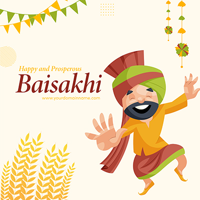 Wishing you happy Baisakhi with a banner design template