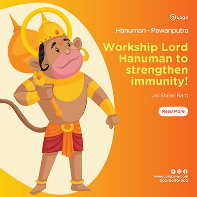 Worship lord Hanuman to strengthen immunity banner design