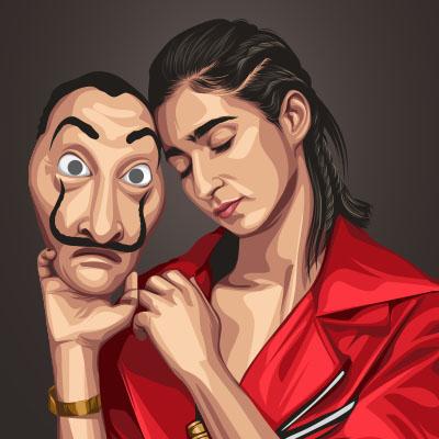 Alba Flores Spanish Actress Vector Portrait Illustration