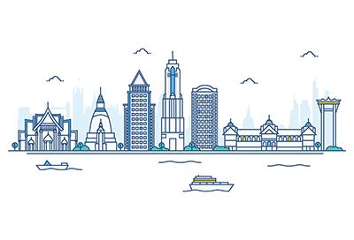 Bangkok city vector skyline on white background