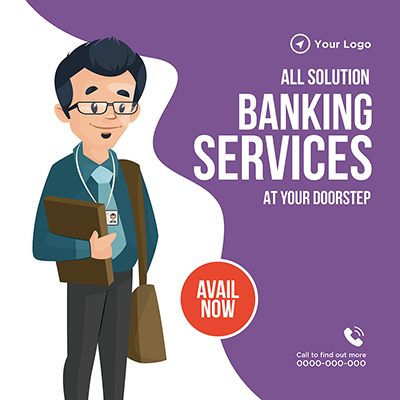 Banking services all solutions banner design template