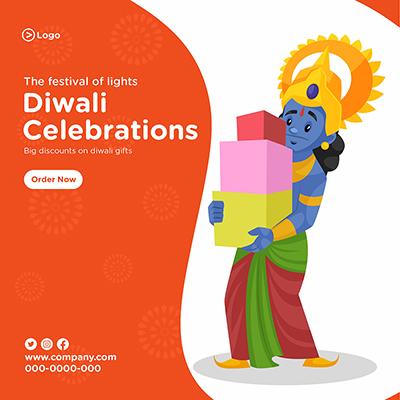 Banner design for Diwali celebrations the festival of lights