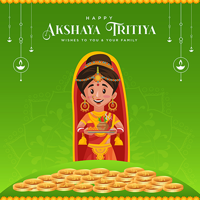 Banner design for happy akshaya tritiya wishes to you and your family