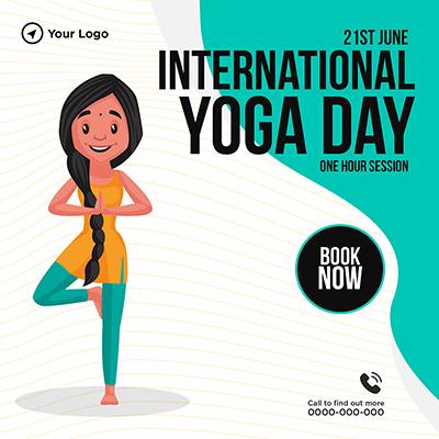 Banner design for international yoga day one hour session