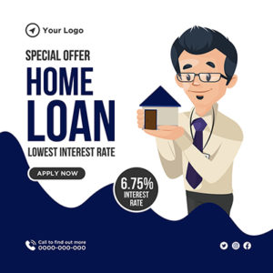 Banner design for lowest interest rate on home loan 3 small