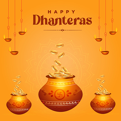 Banner template of happy Dhanteras festival greeting wishes