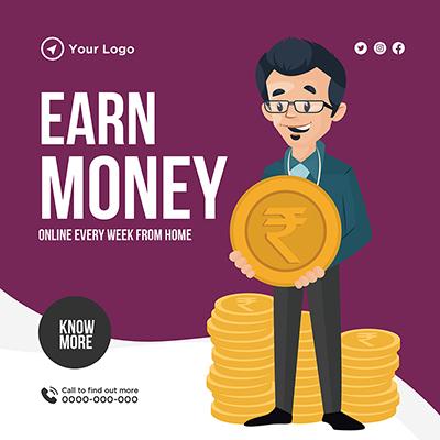 Banner design of earn money online from home