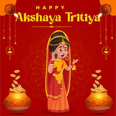 Banner design of happy akshaya tritiya Indian festival celebrations