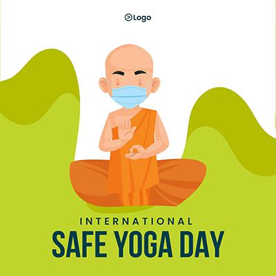 Banner design of international safe yoga day