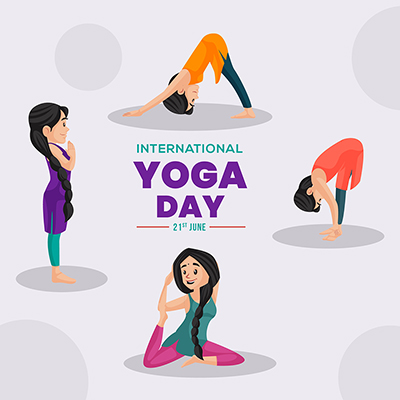 Banner design of international yoga day illustration