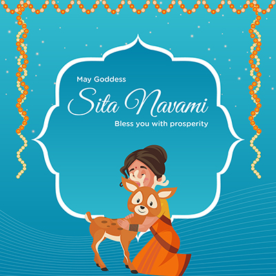 Banner design of Sita Navami may goddess bless you with prosperity