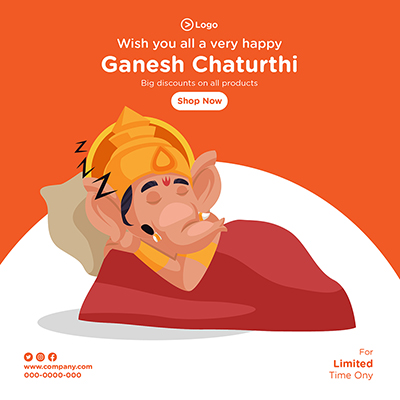 Banner design of wish you all very happy ganesh chaturthi