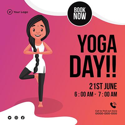 Yoga day social media banner design