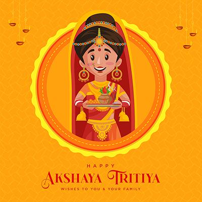 Banner design template for happy akshaya tritiya wishes