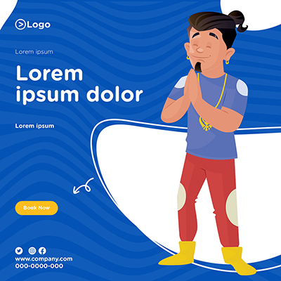 Banner design template on a blue background