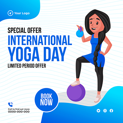 Banner for international yoga day special offer