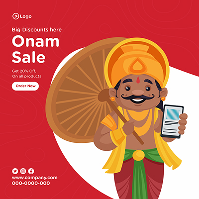 Banner for Onam festival sale big discount is here