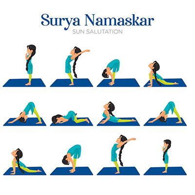 Banner for Surya namaskar sun salutation