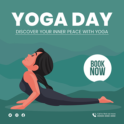 Banner for yoga day discover your inner peace with yoga