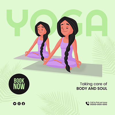 Banner for yoga taking care of body and soul