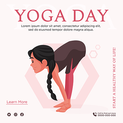 Banner of Yoga day start a healthy way of life